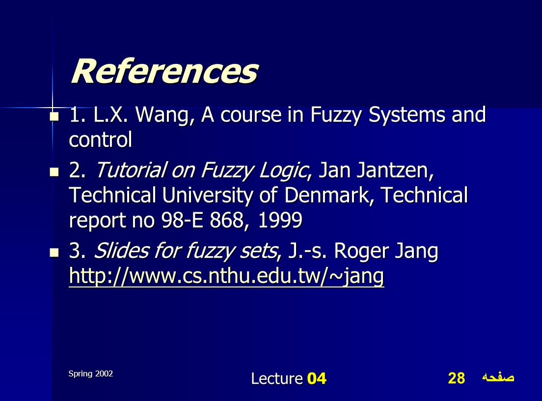 References 1. L.X. Wang, A course in Fuzzy Systems and control