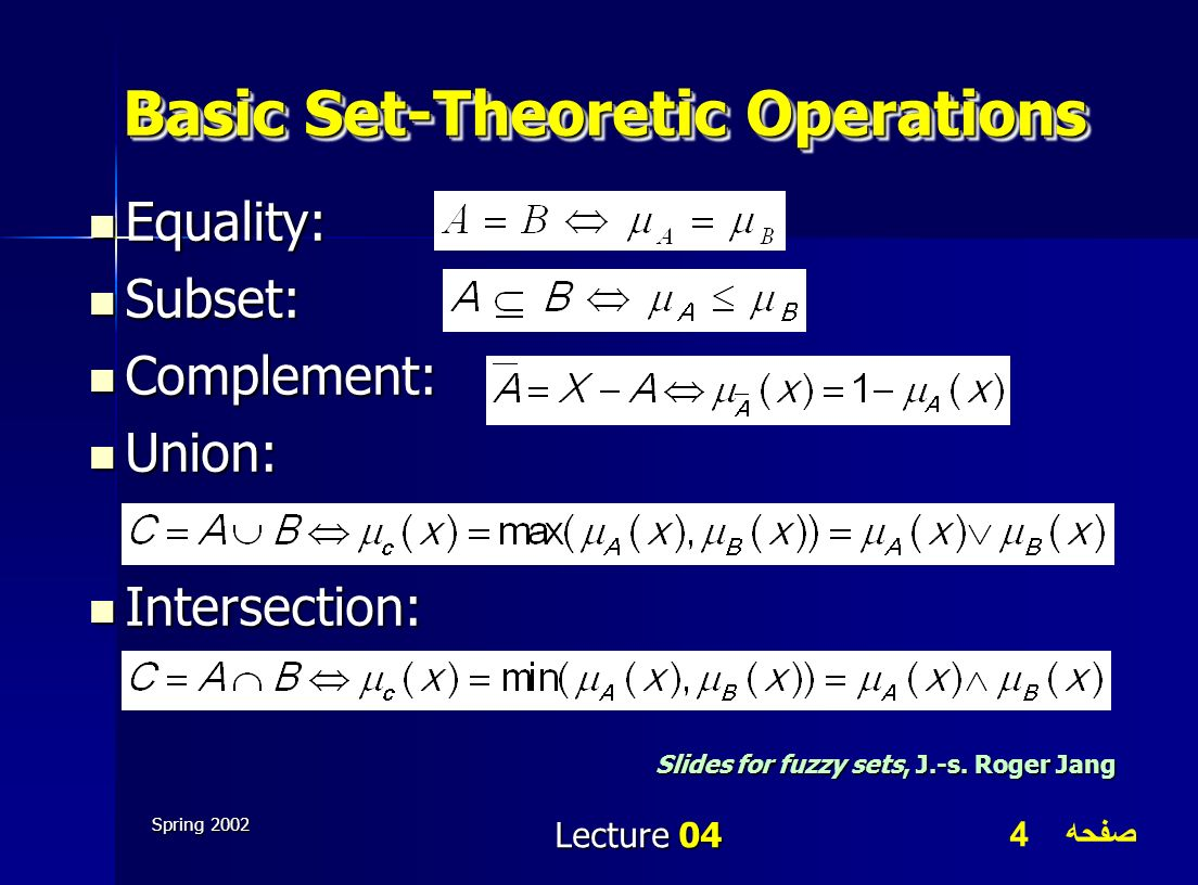 Basic Set-Theoretic Operations