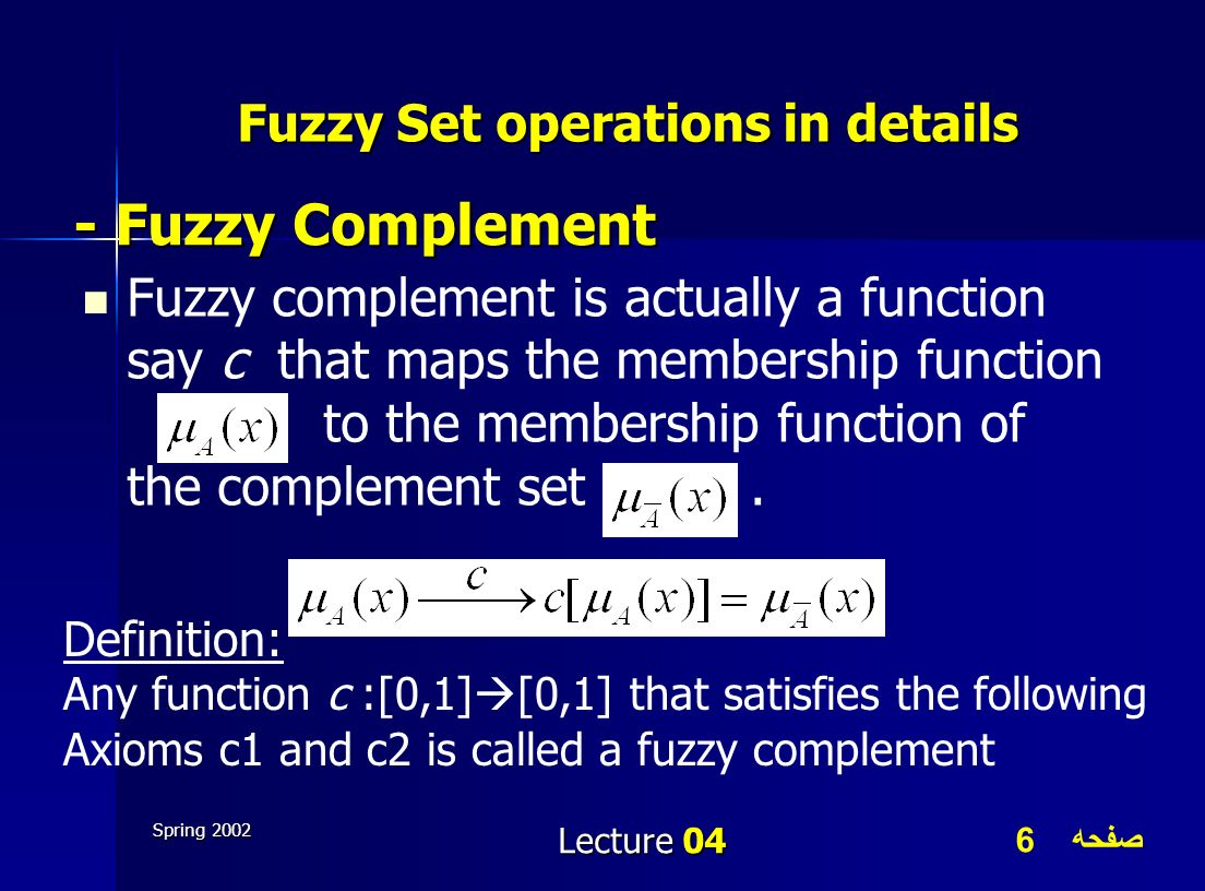 Fuzzy Set operations in details