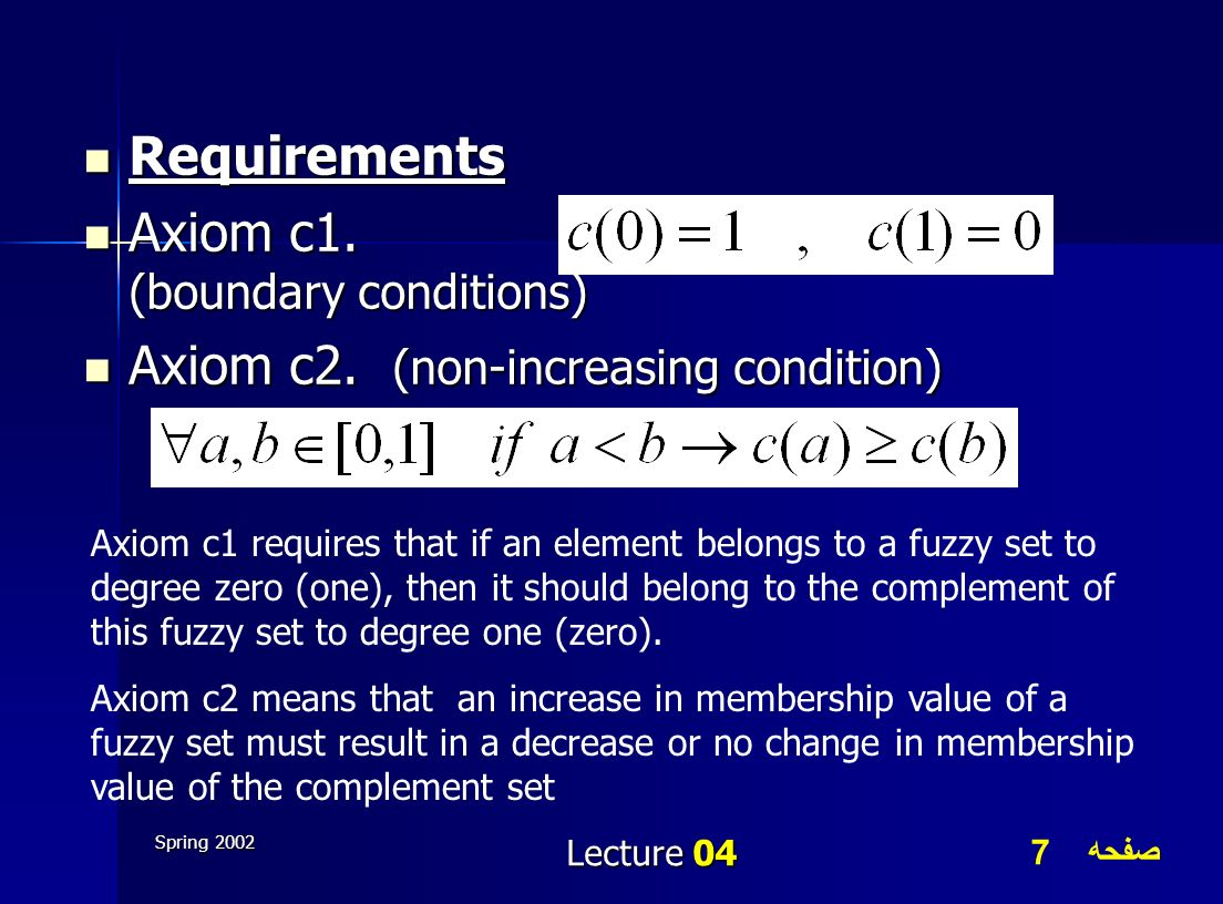 Axiom c1. (boundary conditions) Axiom c2. (non-increasing condition)