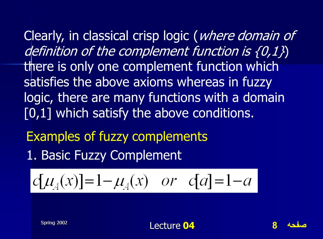 Examples of fuzzy complements 1. Basic Fuzzy Complement