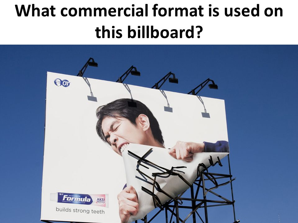 What commercial format is used on this billboard