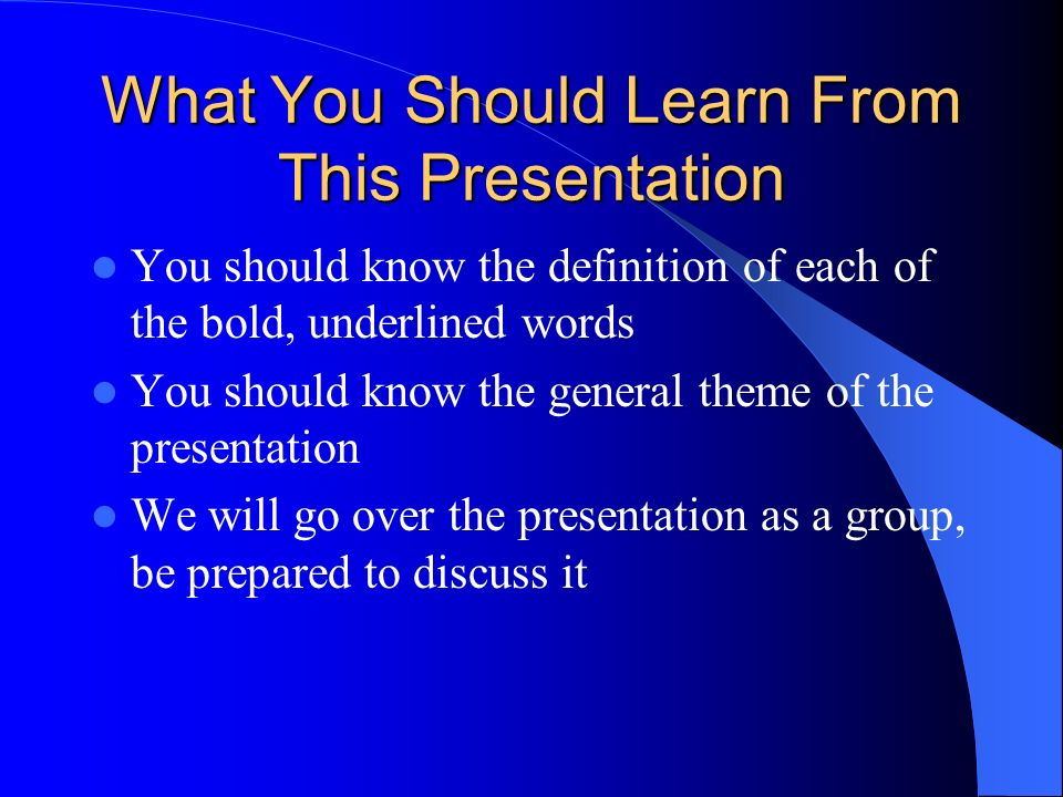 What You Should Learn From This Presentation