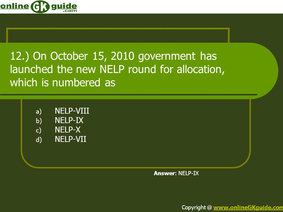 NELP-VIII NELP-IX NELP-X NELP-VII