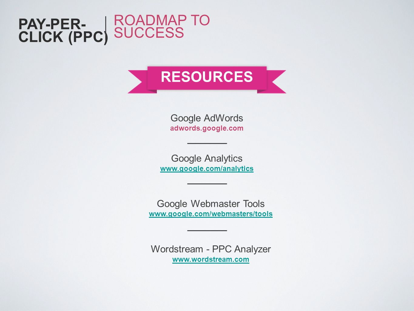PAY-PER-CLICK (PPC) ROADMAP TO SUCCESS RESOURCES Google AdWords