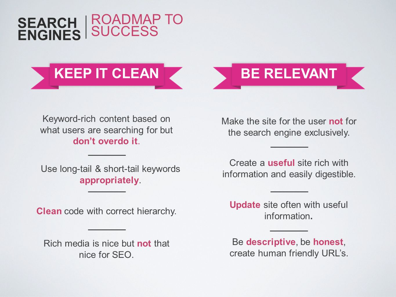 SEARCH ENGINES ROADMAP TO SUCCESS KEEP IT CLEAN BE RELEVANT