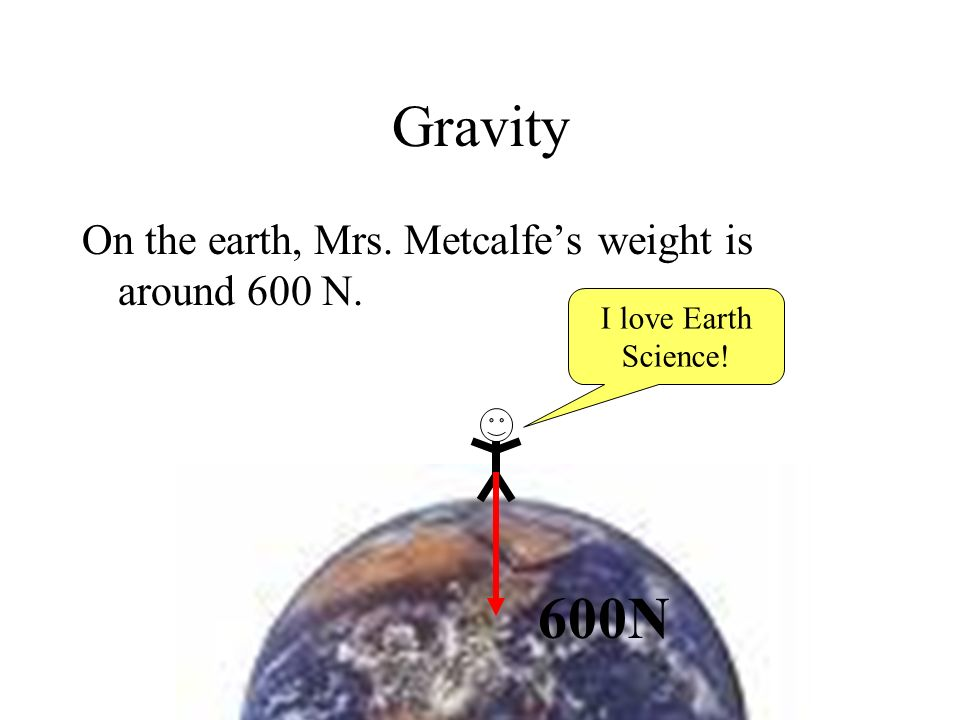 Gravity 600N On the earth, Mrs. Metcalfe's weight is around 600 N.
