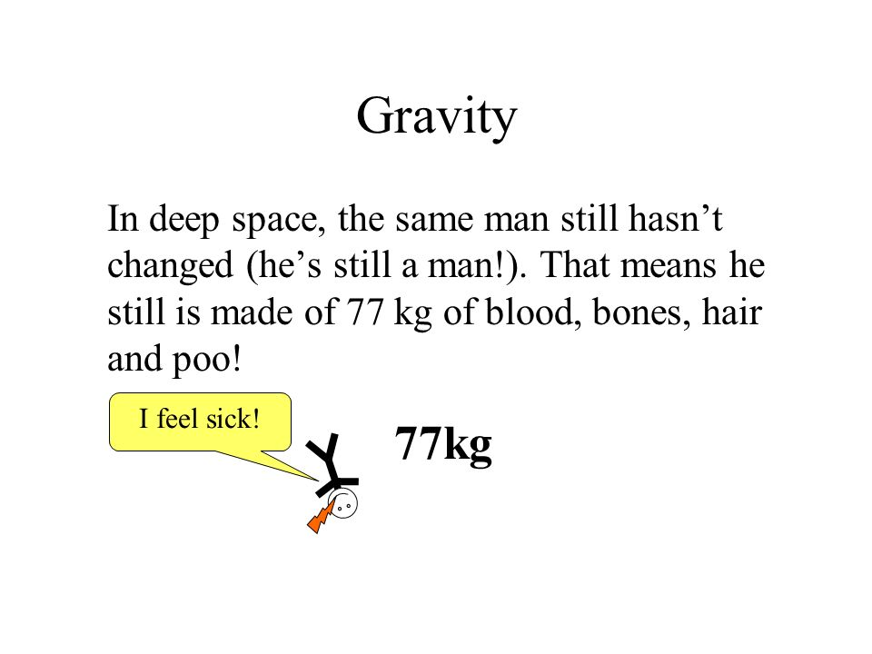 Gravity In deep space, the same man still hasn't changed (he's still a man!). That means he still is made of 77 kg of blood, bones, hair and poo!