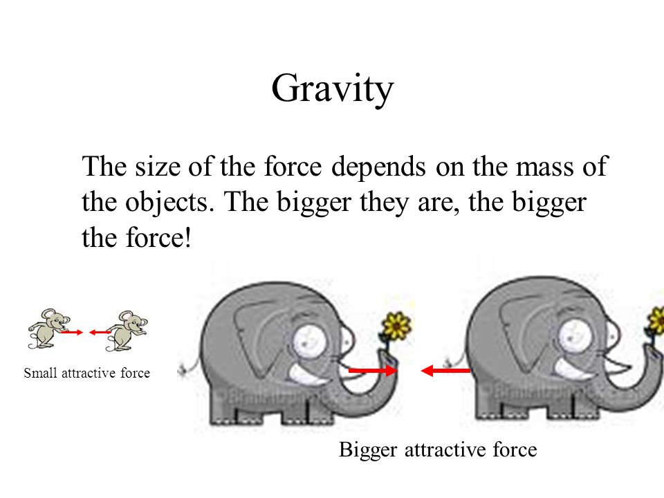 Gravity The size of the force depends on the mass of the objects. The bigger they are, the bigger the force!