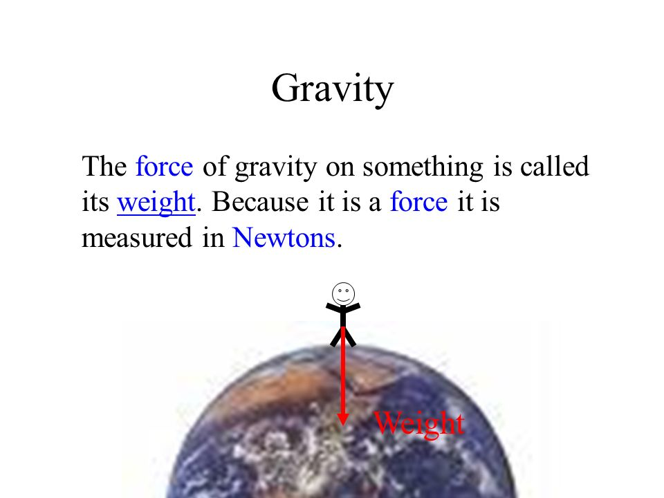 Gravity The force of gravity on something is called its weight. Because it is a force it is measured in Newtons.