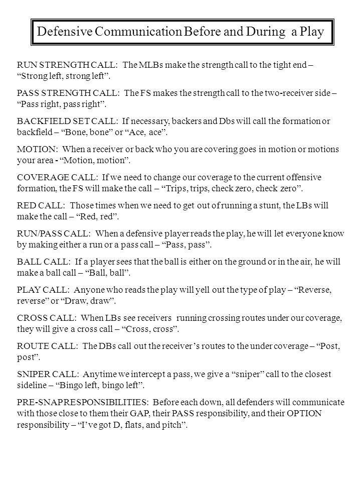 Defensive Communication Before and During a Play