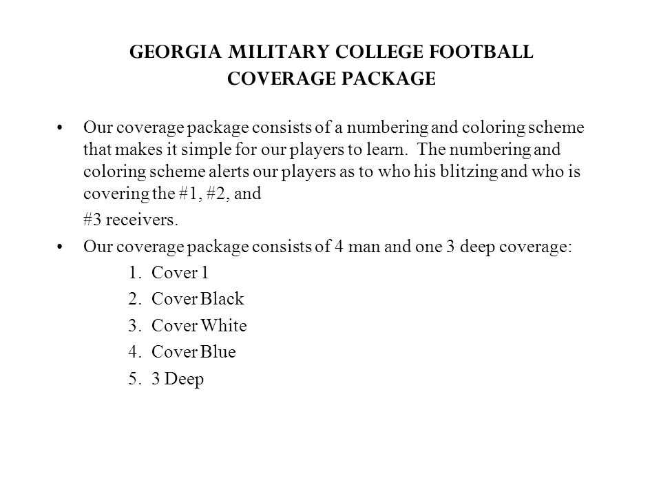 GEORGIA MILITARY COLLEGE FOOTBALL COVERAGE PACKAGE