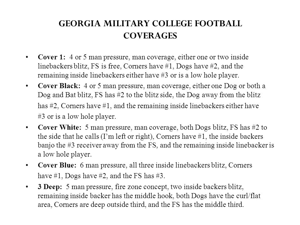 GEORGIA MILITARY COLLEGE FOOTBALL COVERAGES