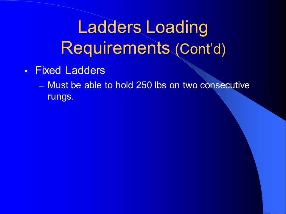 Ladders Loading Requirements (Cont'd)