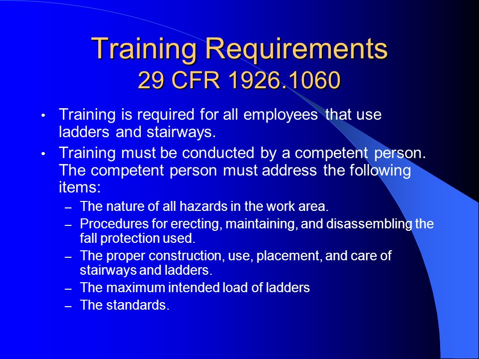 Training Requirements 29 CFR 1926.1060