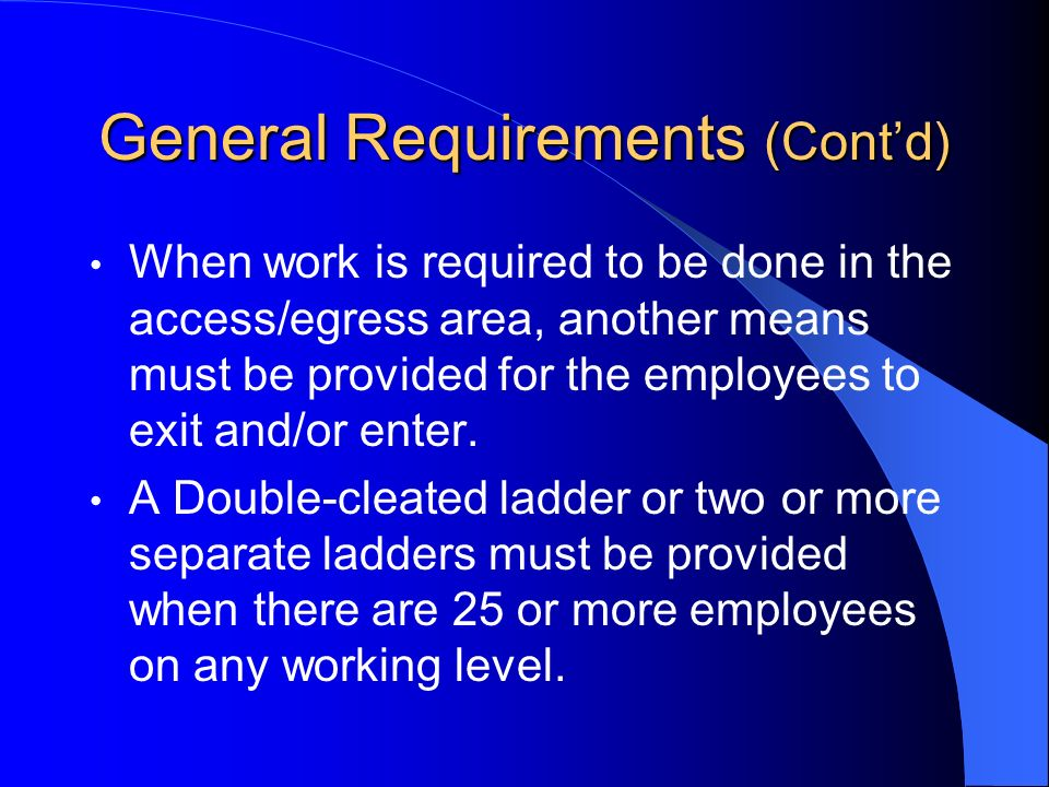 General Requirements (Cont'd)