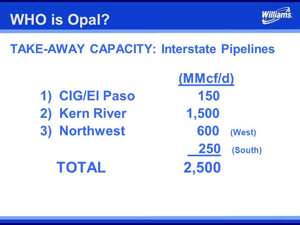 WHO is Opal 1) CIG/El Paso 150 2) Kern River 1,500