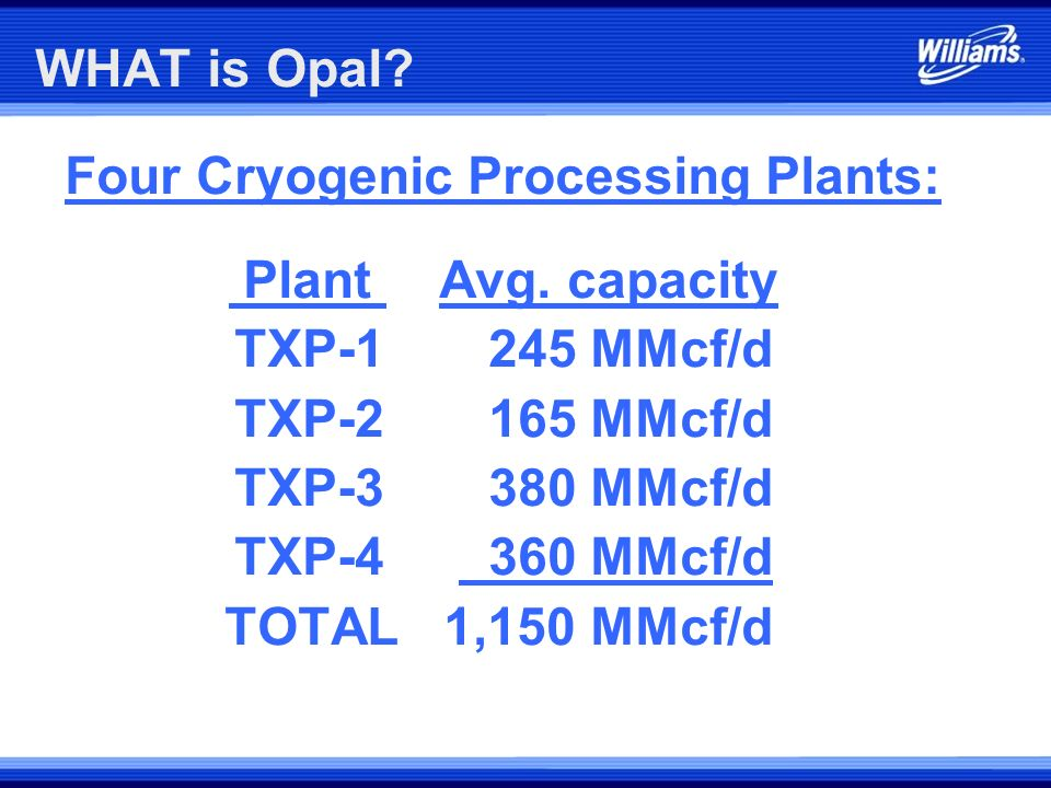 Four Cryogenic Processing Plants: