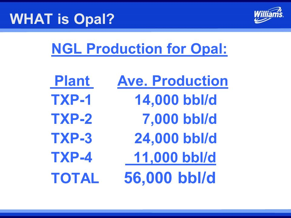 NGL Production for Opal: