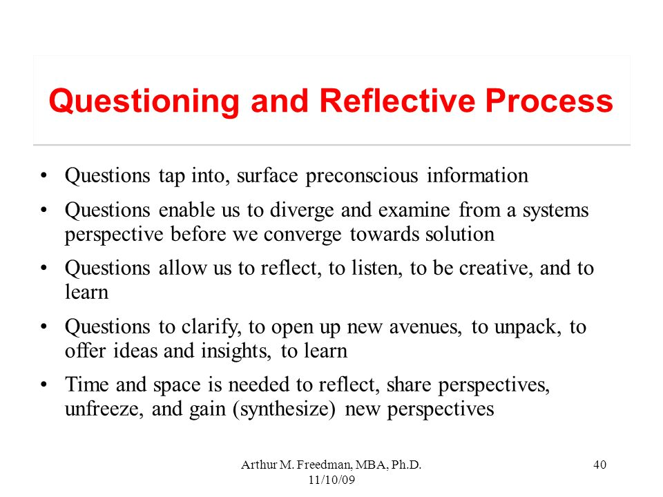 Questioning and Reflective Process