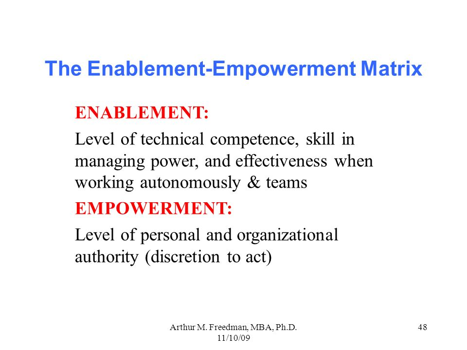 The Enablement-Empowerment Matrix