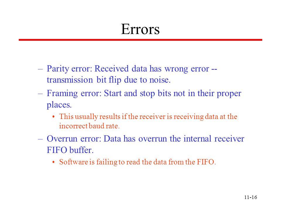 ErrorsParity error: Received data has wrong error -- transmission bit flip due to noise.