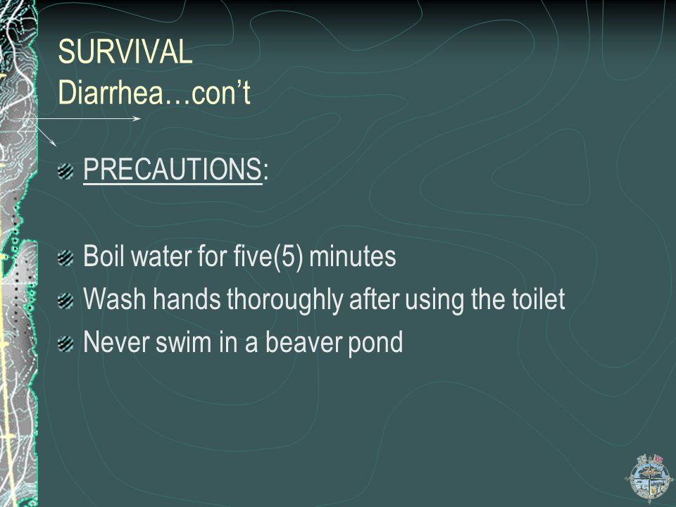 SURVIVAL Diarrhea…con't