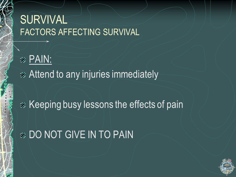 SURVIVAL FACTORS AFFECTING SURVIVAL
