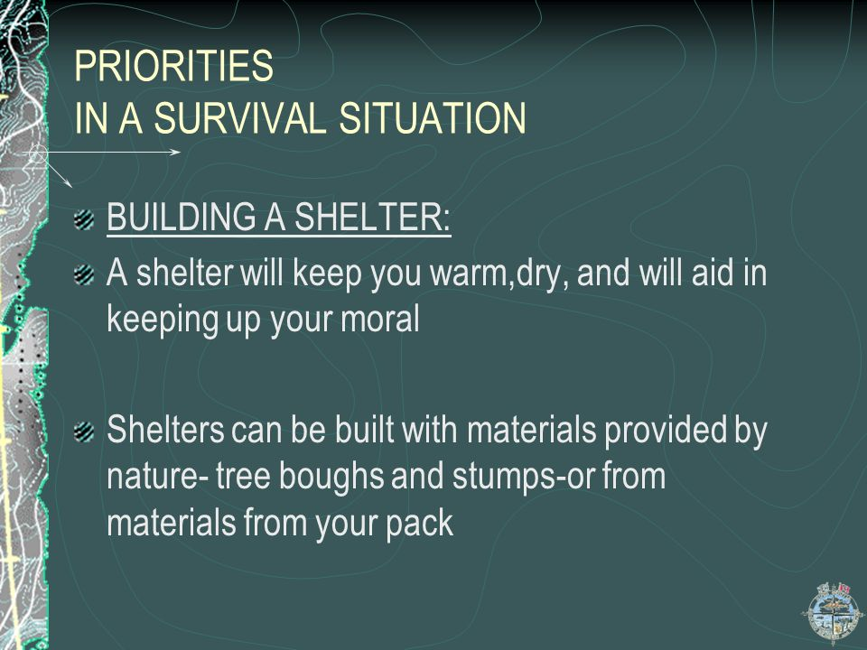 PRIORITIES IN A SURVIVAL SITUATION