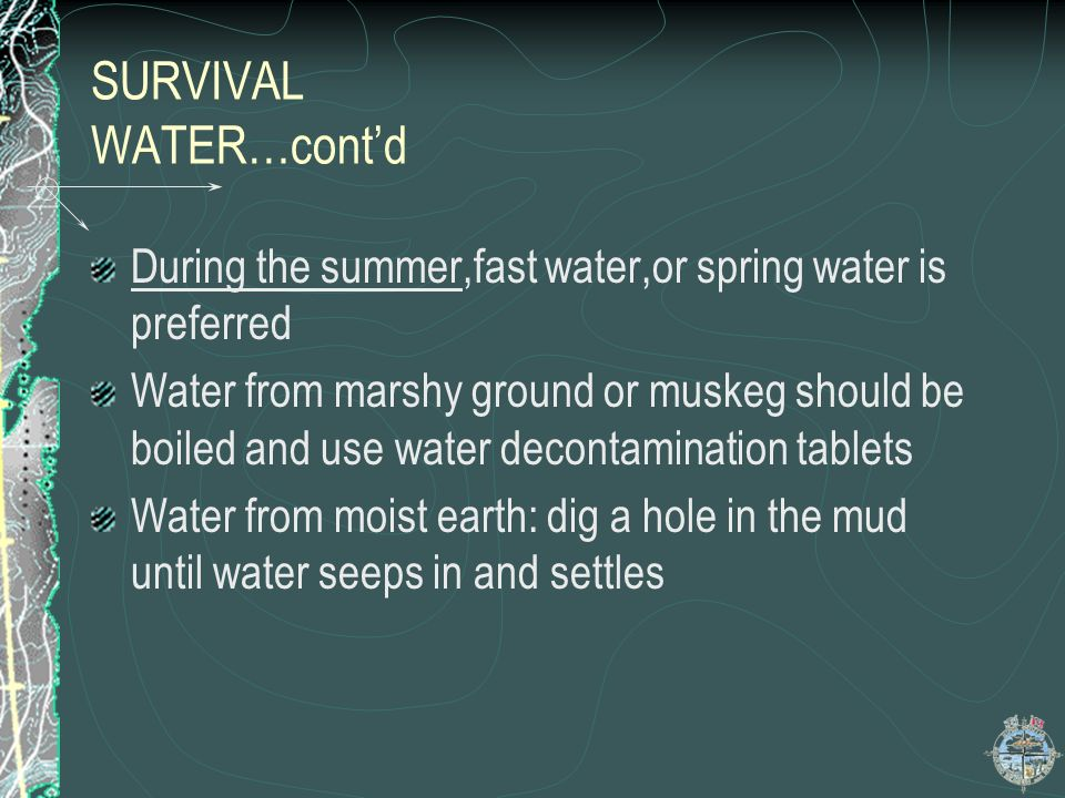 SURVIVAL WATER…cont'd