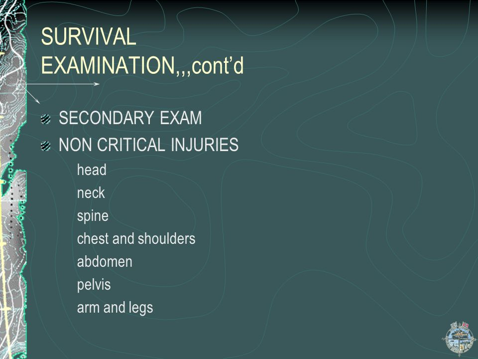 SURVIVAL EXAMINATION,,,cont'd