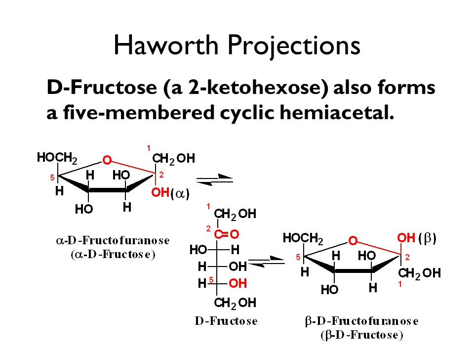 Haworth Projections D-Fructose (a 2-ketohexose) also forms a five-membered cyclic hemiacetal.