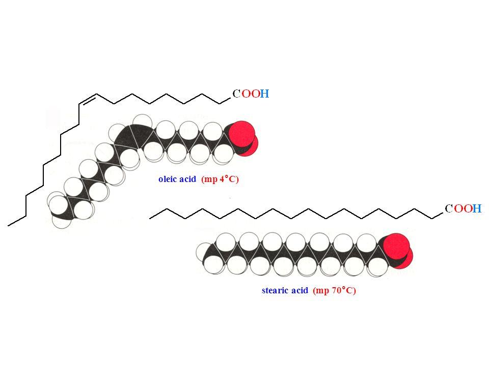 oleic acid (mp 4°C) stearic acid (mp 70°C)