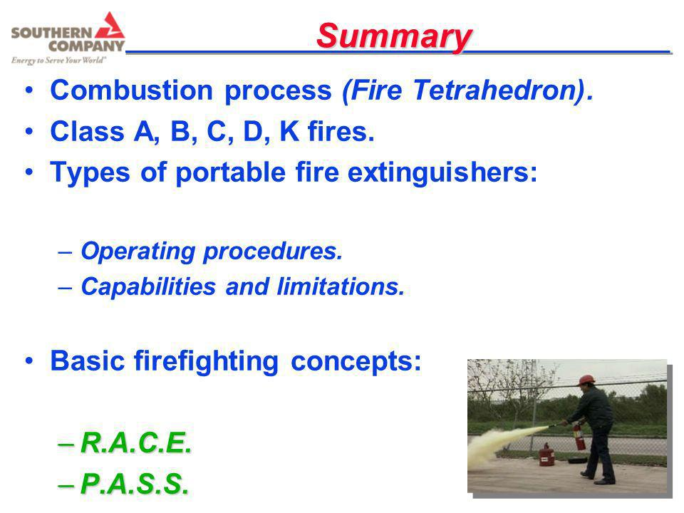 Summary Combustion process (Fire Tetrahedron).