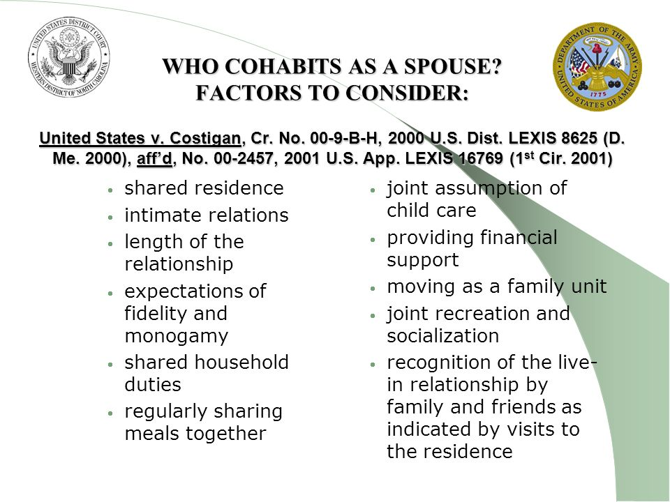 WHO COHABITS AS A SPOUSE. FACTORS TO CONSIDER: United States v