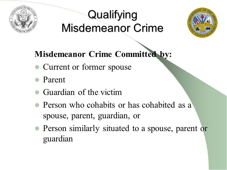 Qualifying Misdemeanor Crime Misdemeanor Crime Committed by: