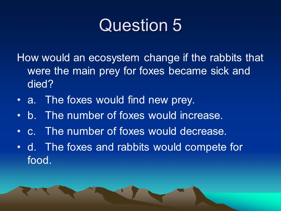 Question 5 How would an ecosystem change if the rabbits that were the main prey for foxes became sick and died