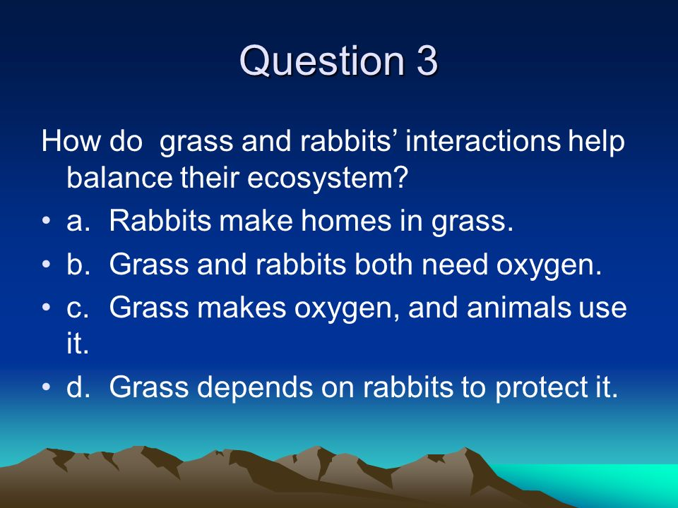 Question 3 How do grass and rabbits' interactions help balance their ecosystem a. Rabbits make homes in grass.
