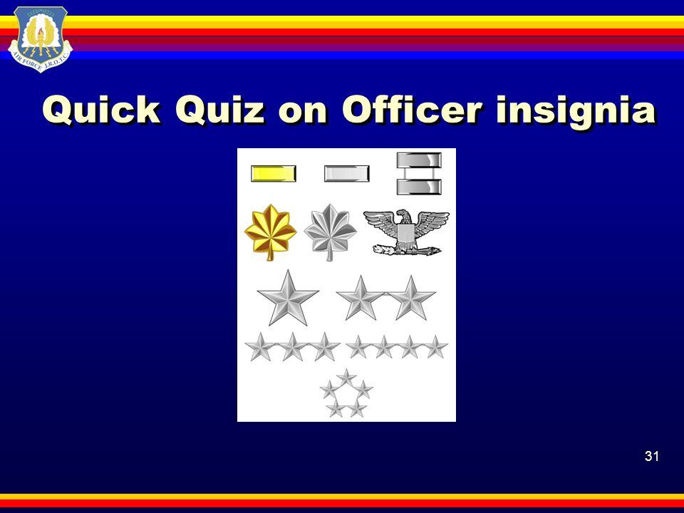 Quick Quiz on Officer insignia