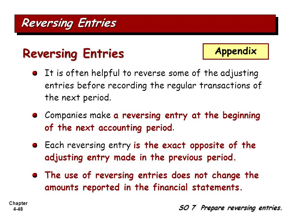 Reversing Entries Reversing Entries Appendix