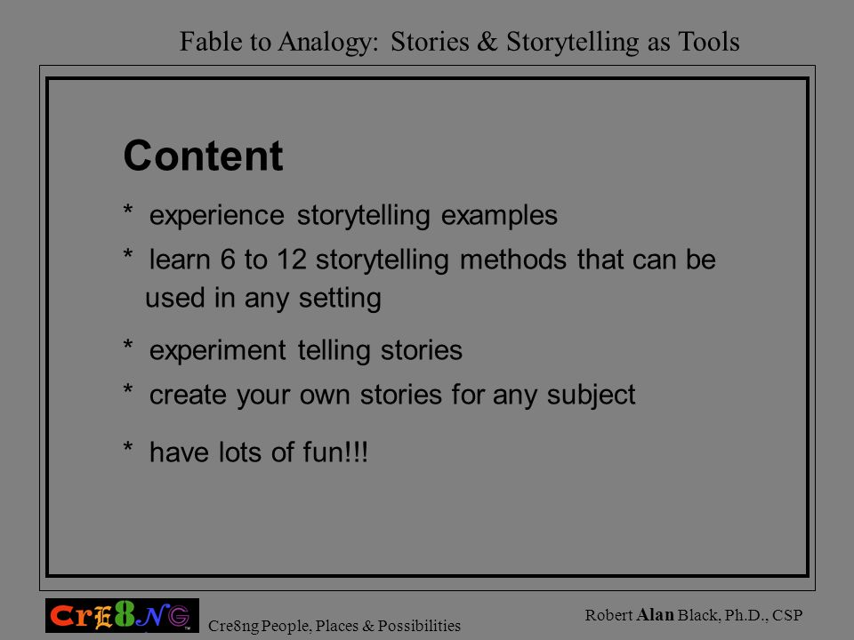 Content * experience storytelling examples