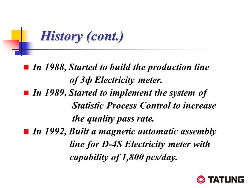 History (cont.) In 1988, Started to build the production line