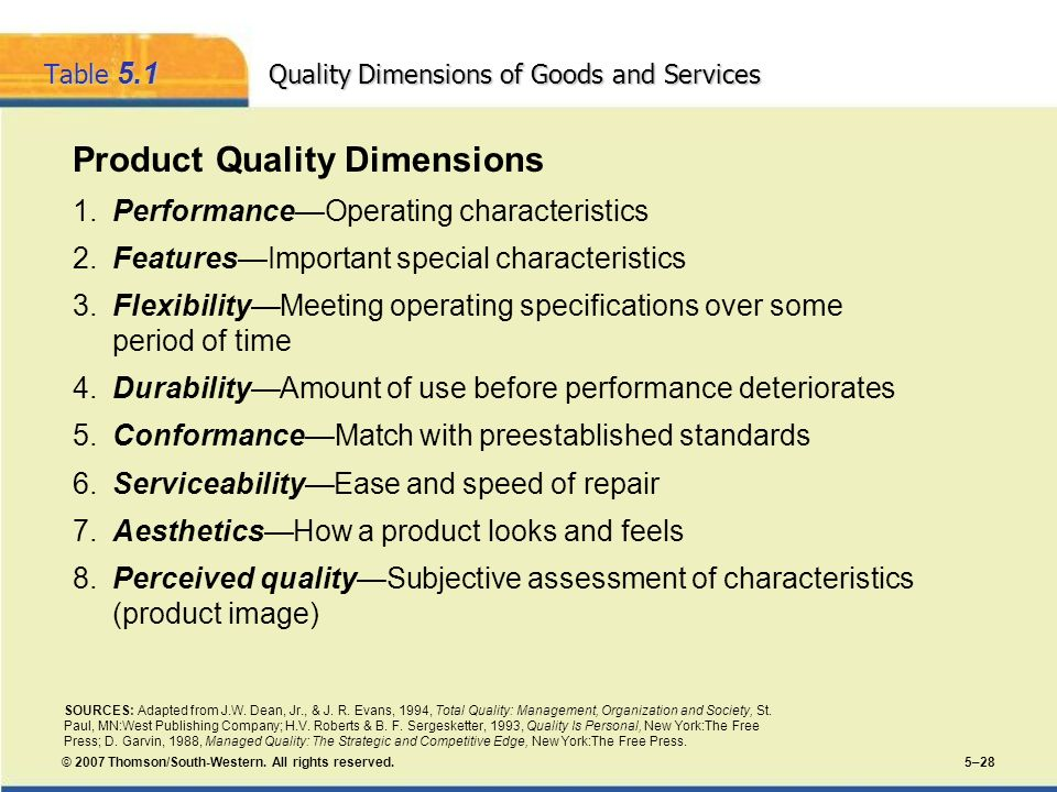 Table 5.1 Quality Dimensions of Goods and Services