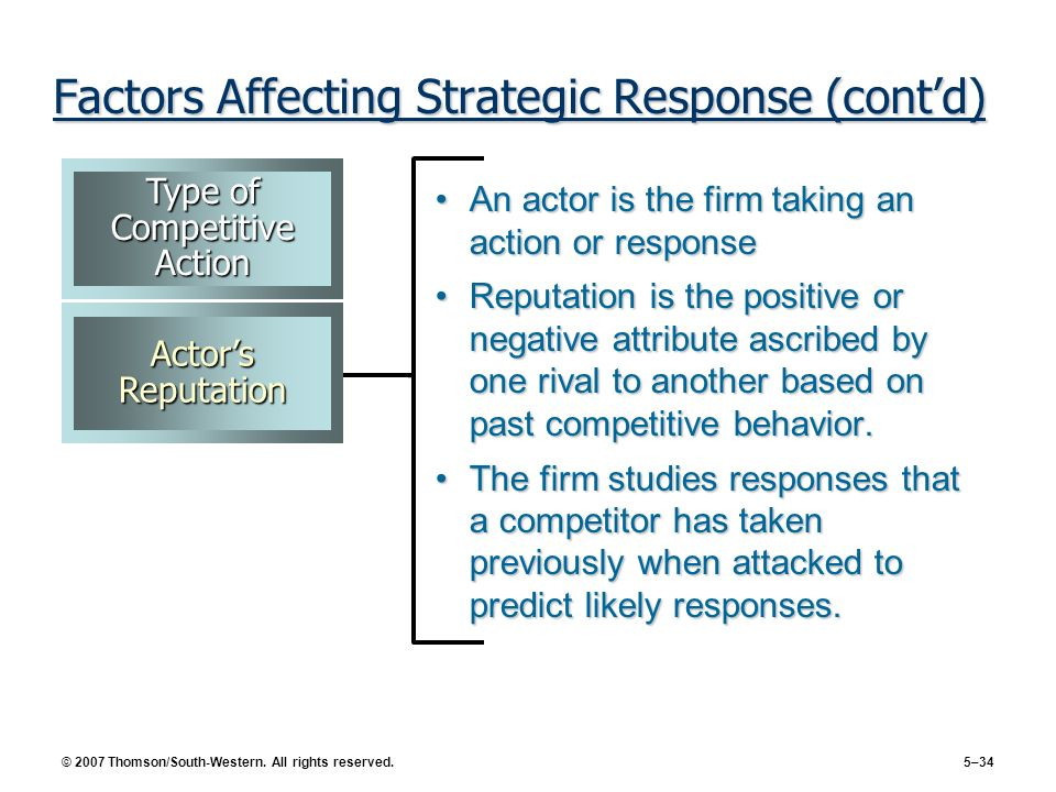 Factors Affecting Strategic Response (cont'd)