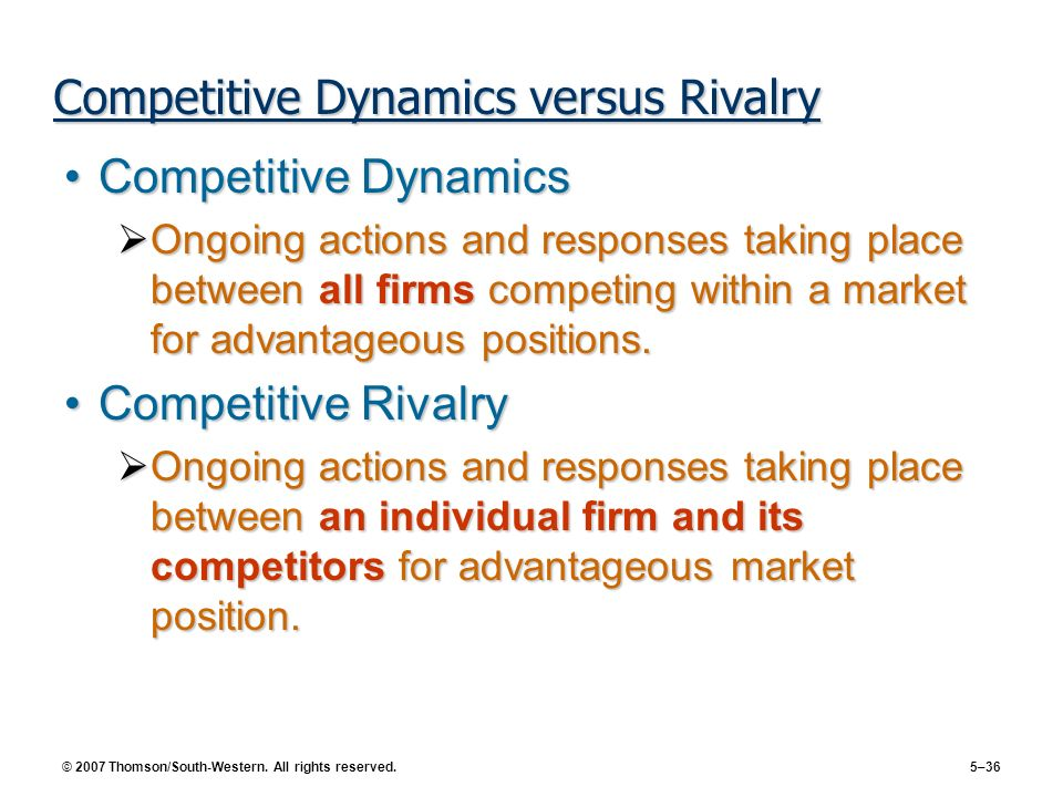 Competitive Dynamics versus Rivalry