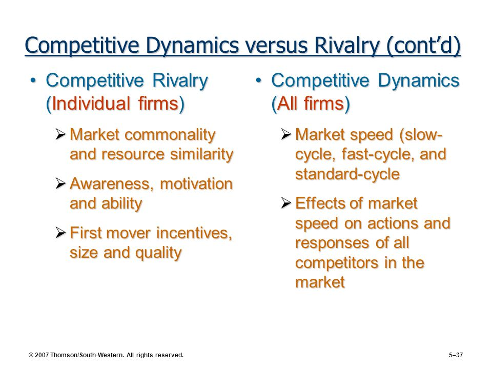 Competitive Dynamics versus Rivalry (cont'd)