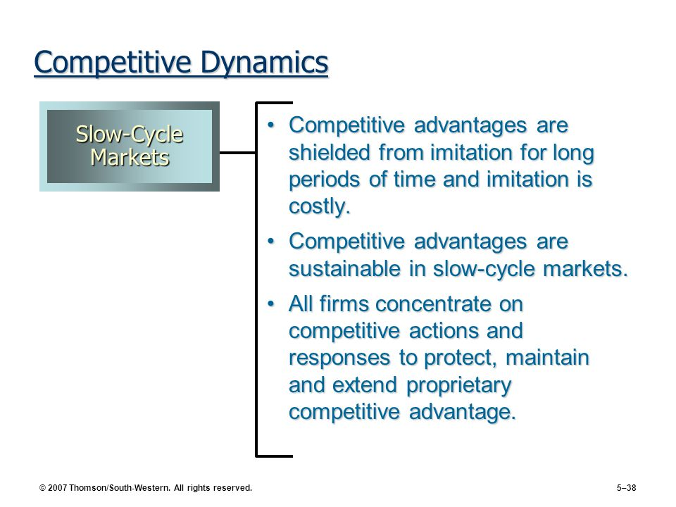 Competitive Dynamics Slow-Cycle Markets. Competitive advantages are shielded from imitation for long periods of time and imitation is costly.