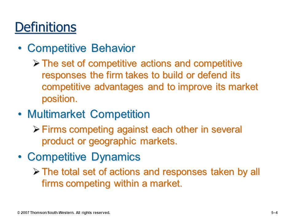 Definitions Competitive Behavior Multimarket Competition