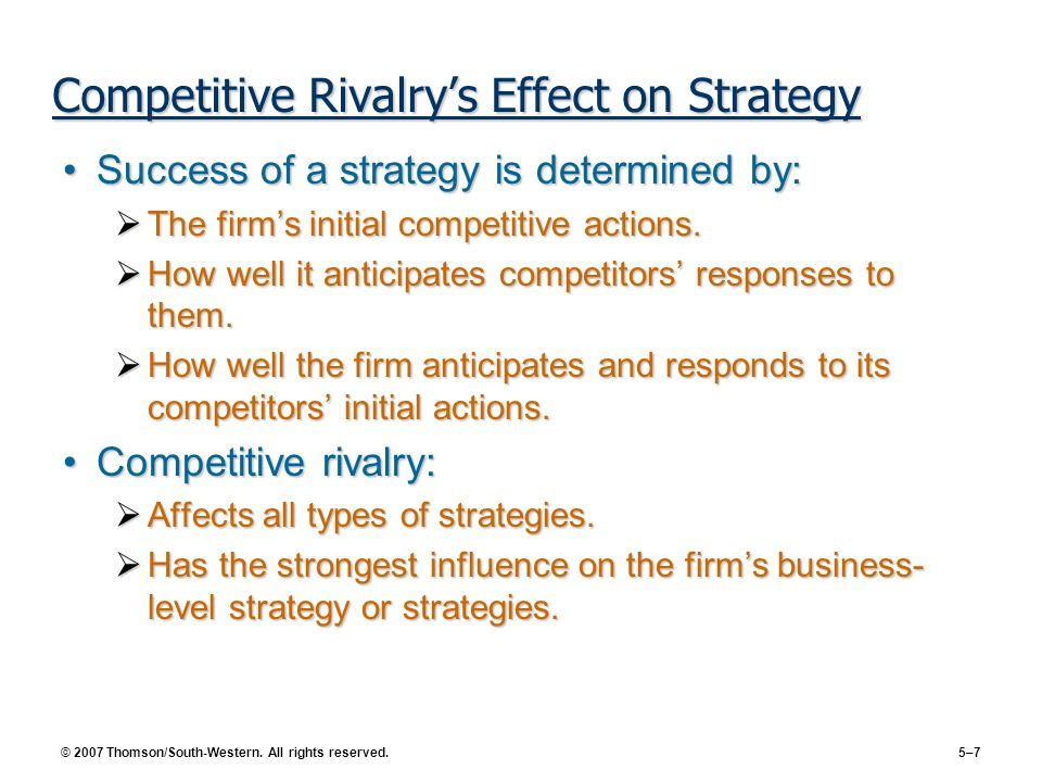 Competitive Rivalry's Effect on Strategy