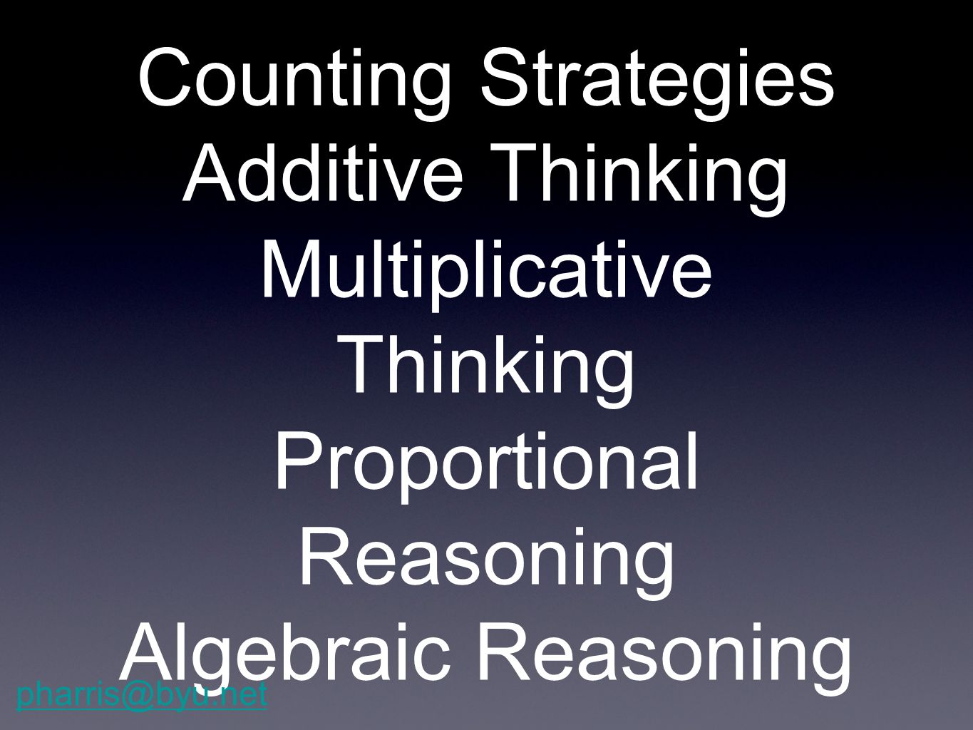 Counting Strategies Additive Thinking Multiplicative Thinking Proportional Reasoning Algebraic Reasoning
